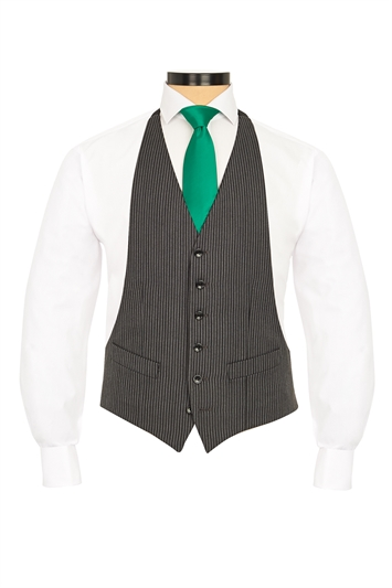 Classic Grey and Black traditional striped morning vest