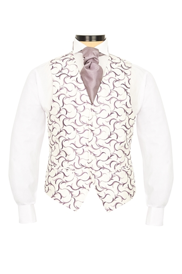 Verona Grape embroidered swirl morning waistcoat