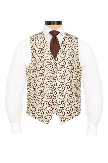 Rialto Brown embroidered swirl morning waistcoat