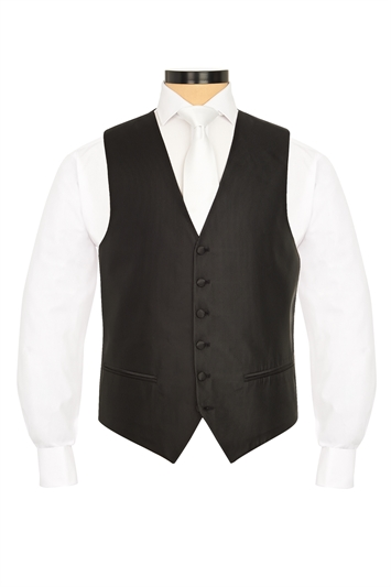 Torino Black self patterned morning waistcoat
