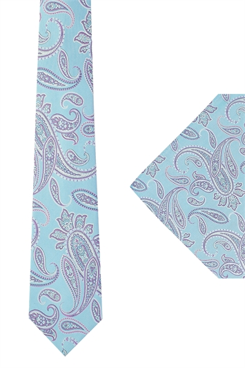 Ted Baker Turquoise Paisley tie & hank set