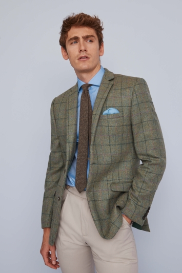 Moss 1851 Green Multi Check Tweed Jacket
