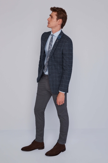 Moss 1851 Grey Windowpane Tweed Jacket