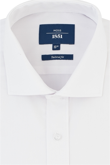 Moss 1851 Tailored Fit Regular Collar Shirt with Double Cuffs