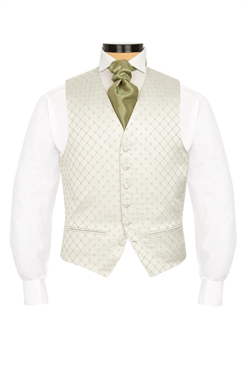 Terelle Olive Green diamond patterned morning waistcoat