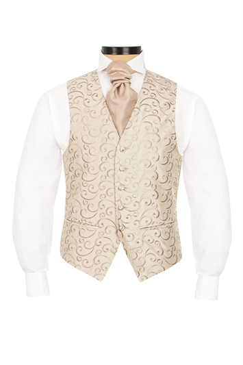 Junior Heywood Caramel embroidered swirl morning waistcoat