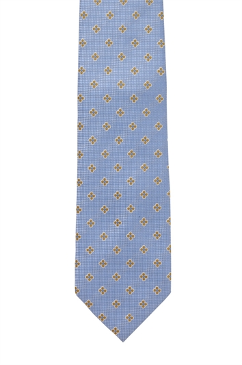 Napoli Blue Polyester Patterned Tie