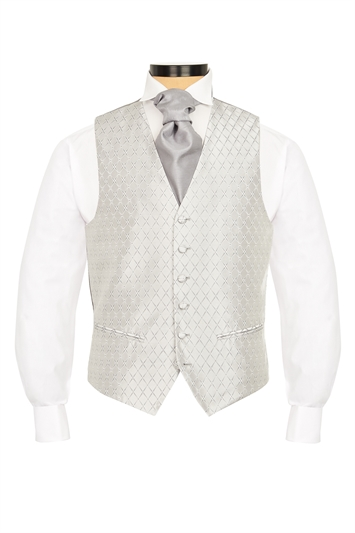 Junior Hawkstone Grey diamond patterned morning waistcoat