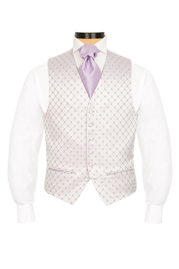 Junior Canzo Lilac and Violet diamond patterned morning waistcoat