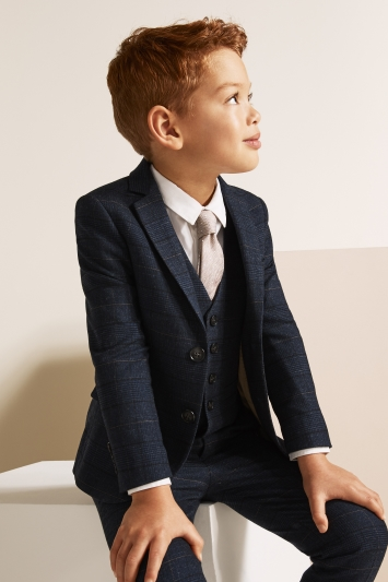 Moss 1851 Tailored Fit Navy Black Check Suit