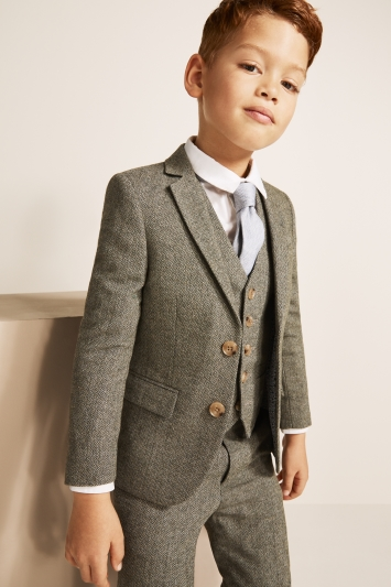 Moss London Skinny/Slim Fit Sage Herringbone Suit