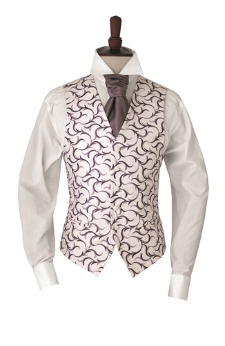 Junior Verona Grape embroidered swirl morning waistcoat