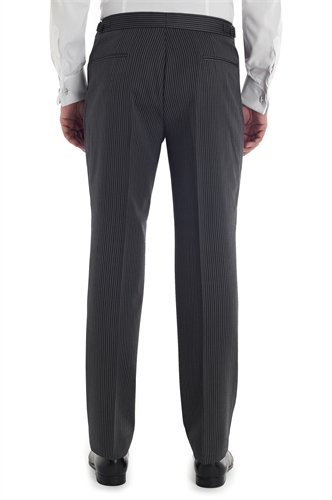 Classic grey and black traditional stripe Flat fronted morning trousers
