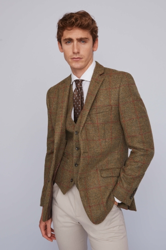 Moss 1851 Tan multi Check Tweed Jacket