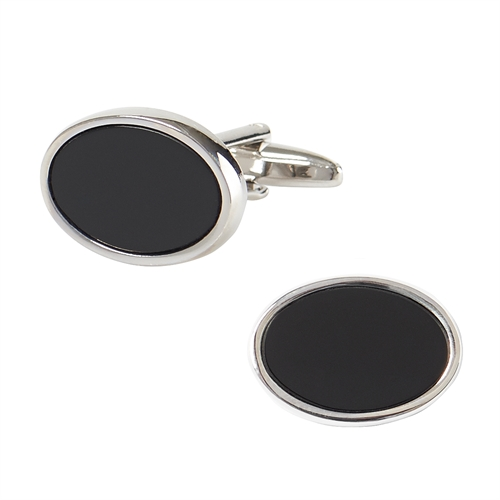Silver colour Cuff Links with Black stone