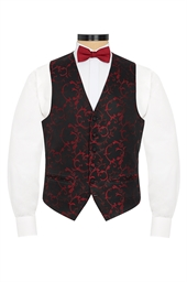 Valencia Burgundy floral patterned evening waistcoat