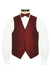 Firenze Red  diamond patterned evening waistcoat