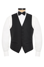 Calpe black evening waistcoat with silver spots