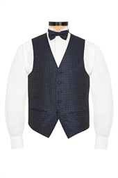 Bologna Blue evening waistcoat with Silver dots