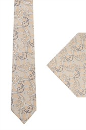 Ted Baker Gold Patterned tie & hank set