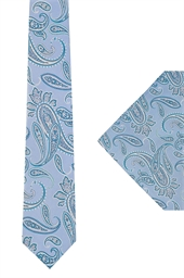 Ted Baker Light Blue Paisley tie & hank set