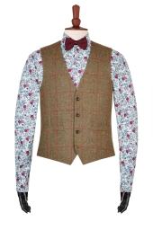 Moss 1851 Tan Windowpane Tweed Waistcoat