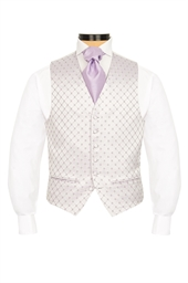 Canzo Lilac and Violet diamond patterned morning waistcoat