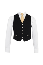 Black Highland Morning Waistcoat (5 silver buttons)