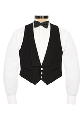 Black Prince Charlie Waistcoat (3 silver buttons)