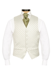 Junior Terelle Olive Green diamond patterned morning waistcoat