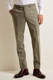 Moss London Sage Herringbone Trousers
