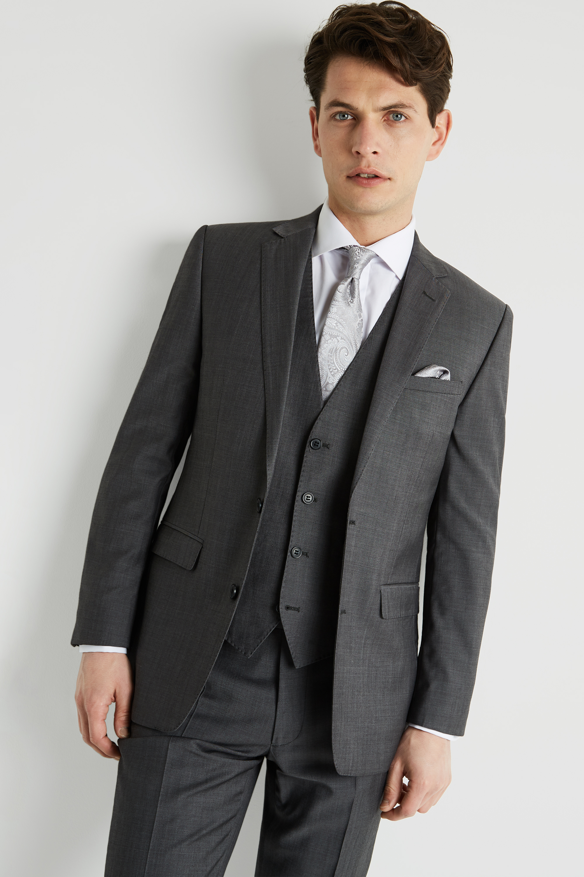 Moss 1851 Grey Lounge Hire Suit Moss Hire